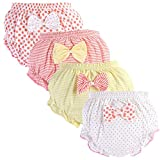 Baby Diaper Covers Combed Cotton Underwear Soft Cartoon Bloomers 4 Pack (1-2Y, A)