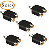 Relper-Lineso 5 Pack Male RCA 1 to 2 Y Splitter Adapter for Audio Video Av Tv Cable Convert(5x RCA 1 to 2 Adapter)