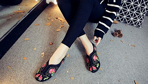 Lazutom Women Lady Vintage Chinese Style Embroidery Slip-On Loafer Casual Walking Shoes Black rMRuosG