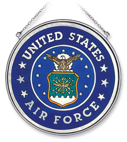 Air Force Suncatcher - Amia 7127 Large Circle Suncatcher, Air Force, 6-1/2-Inch, Hand-painted Glass