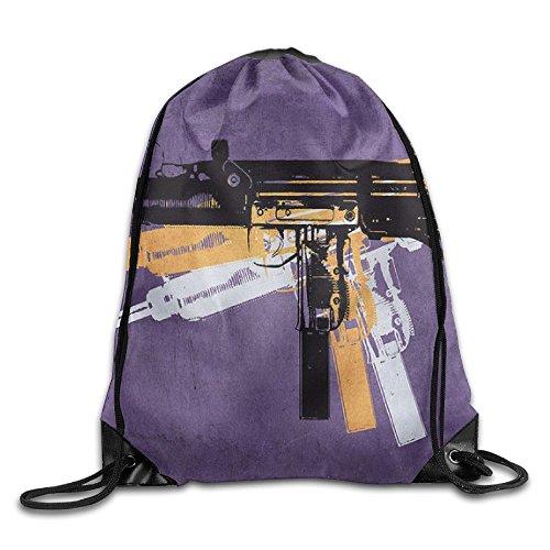 Machine Gun On Purple Cool Drawstring Travel Sports Backpack Gift