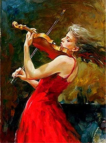 YEESAM ART DIY Paint by Numbers for Adults Beginner Kids, Violin Red Skirt Elegant Beauty Girl 16x20 inch Linen Canvas Acrylic Stress Less Number Painting Gifts (Beauty, with Frame) -