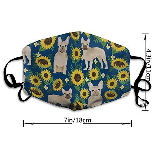 NEWKOW Mouth Mask Unisex Cute Shape for Kids Teens Men Women Lovers, Anti-Dust Windproof Motorcycle Face Masks French Bulldog Sunflowers