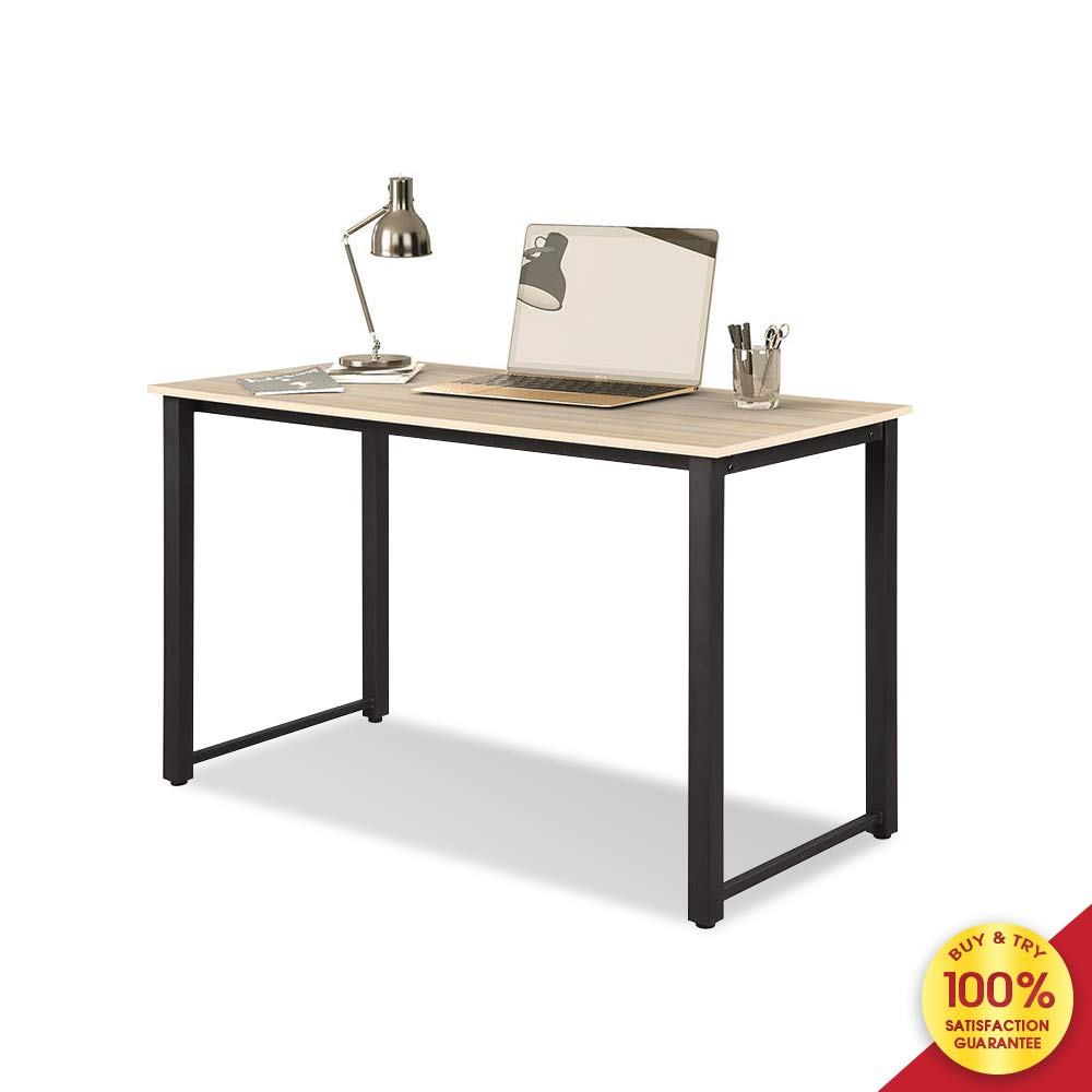 Hooseng 47'' Modern Simple Office Computer Desk, Sturdy Laptop Easy Assembly, Writing Table with Spacious Wood Top & White Metal Legs, Studio Workstation for Home & Office, Oak by Hooseng