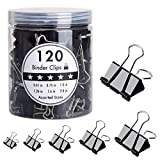 HJSMing 120 PCS Metal Binder Clips,Foldback Clips,Paper Binder Clamp,for Notes Letter Paper Books Home Office School File Paper Organizer Folder Clip Clamp 6 Sizes with Box (Black)
