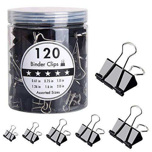 HJSMing 120 PCS Metal Binder Clips,Foldback Clips,Paper Binder Clamp,for Notes Letter Paper Books Home Office School File Paper Organizer Folder Clip Clamp 6 Sizes with Box (Black) by HJSMing