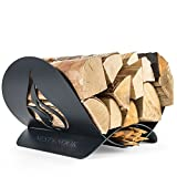 Rustic Fireplace Log and Wood Holder - Indoor, Outdoor, Patio - Gunmetal Grey Decorative Holders - Weather- Resistant Storage Rack For Firewood and Kindling - Artistic Flame Design