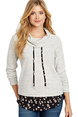 1b403eed5d2 maurices Women s Cowl Neck Pullover Sweatshirt With Floral Hem X Small Lt  Gray at Amazon Women s Clothing store