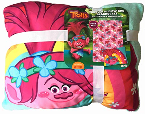 The Fun House Toddler Pillow and Blanket Poppy Trolls Set -