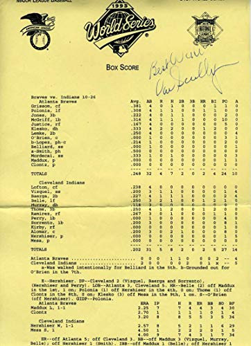 VIN SCULLY JSA COA Autograph 1995 World Series Lineup Hand Signed