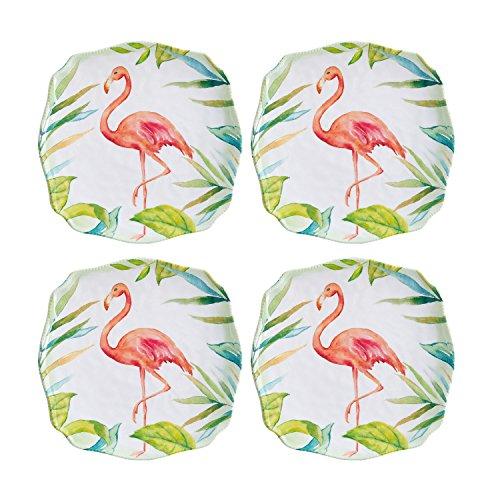Gourmet Art 4-Piece Flamingo Melamine 6 3/4-inch plate