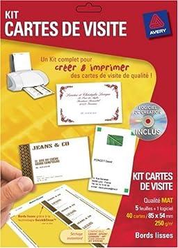 Avery Kit Cartes De Visite 5 Planches Soft