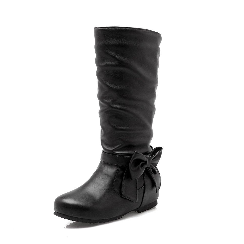 DYF Damenschuhe Stiefel Größe Farbe Flache Flache Flache Unterseite Butterfly Knot Schwarz 34 39c820