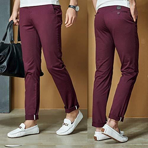 Couleur Pantalons Haute Cargo Coupe Simple Slim Taille Unie Confortable Hommes qF8p6F