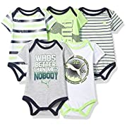 PUMA Baby Boys Five Pack Bodysuit Set, Active Green, 3-6 Months