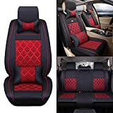 11Pcs Universal Full Surrounded Car Front&Rear Seat Covers PU Classic Leather Seat Covers 5 seats Easy to Clean(Black&Red))
