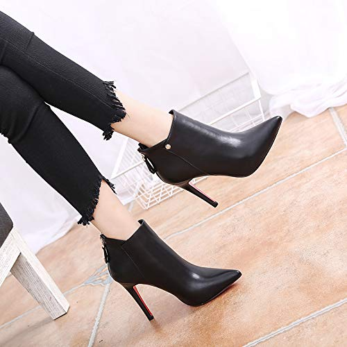 Martin ankle wedding Short pointy simple shoes heels boots thin heeled boots high boots gules shoes LBTSQ fashion 10cm qBFHPwH