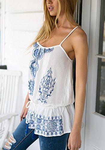 LookbookStore Mujer Azul y Blanco Sin Mangas Bordado con cordón ajustable