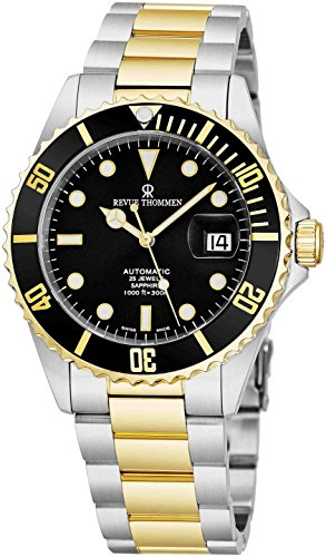 (Revue Thommen Mens Diver Watch Automatic Sapphire Crystal - Analog Black Face Two Tone Metal Band Stainless Steel Dive Watch Swiss Made - Scuba Diving Watches for Men Waterproof 300 Meters 17571.2147)