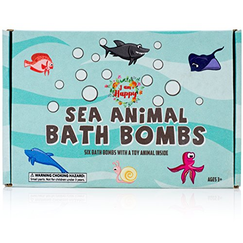 Kids Bath Bombs with Surprise Inside: Sea Animal Toys Inside, Great Bath Bombs Gift Set for Boys and Girls, Safe Ingredients that Don't Stain the Tub]()