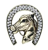 Horse Head Diamonds Brooch Shirt Corsage Brooch and Pin for Men