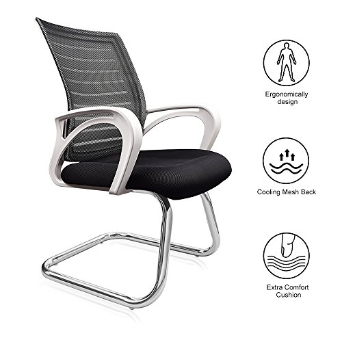 - Reclining Office Chair, Lumbar Support Gaming Chair Meeting Chair Conference Chair with Breathable Ergonomic Design Mesh Back Extra Comfort Foam Pad and Robust Steel Base Home Office Chair - White