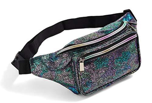 Holographic Multicolor Fanny Pack for Women Rave Festival 80s Cute Fashion Waist Bag Belt Bags (Multicolor)