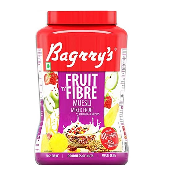 Bagrry's Fruit N Fibre, Mixed Fruit Muesli, 1000g Jar