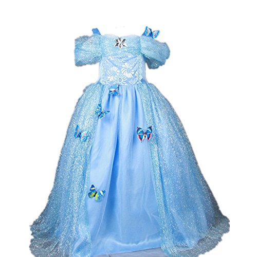 Starkma 2015 Movie Girls Cinderella Dress Blue Butterflies Princess Costume 3-7year (3 years old ) (Halloween Costumes For 3 Year Olds)