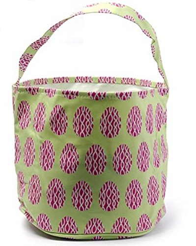 Initial Monogram Hand Embroidery (Easter Egg Hunt Basket Bag - childs reusable bucket baskets - kids party gift bags - baby shower & book storage - grocery shopping and more by Jolly Jon Products (Green with Purple Eggs))