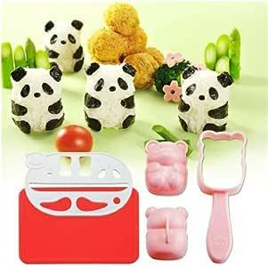 Bento Rice Ball Mold Baby Panda Onigiri Shaper and Dry Roasted Seaweed Cutter Set
