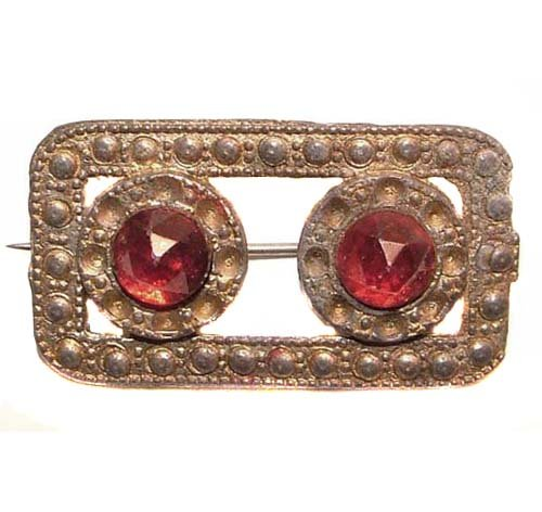 s Gold Tone Red Cabochon Brooch ()