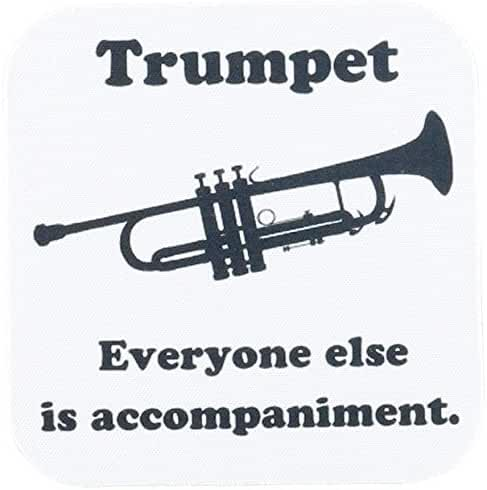 3dRose cst_123063_1 Trumpet Everyone Else is Just Accompaniment Soft Coaster (Set of 4)