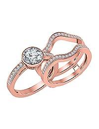 Bezel Set Round Cut Created White Sapphire Enhancer Wedding Set 14K Rose Gold Plated