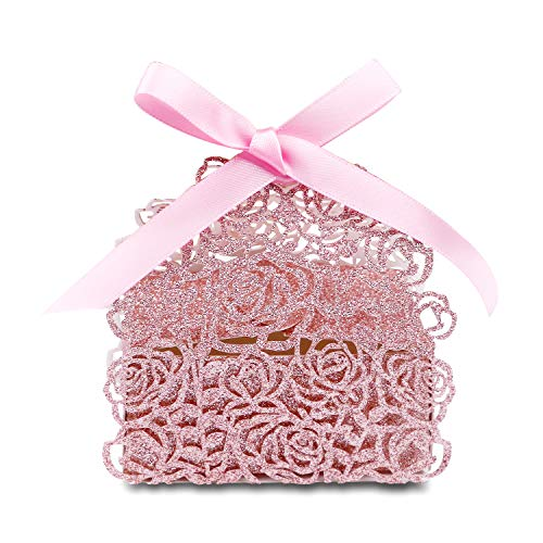 PONATIA 50 PCS Laser Cut Rose Gold Glitter Boxes with Pink Ribbons Wedding Party Favor, Wedding Gift Bags Chocolate Candy and Gift Boxes(Rose Gold Glitter)