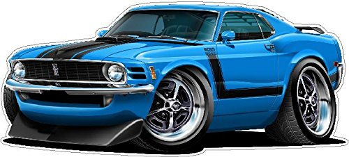 1970 Mustang Boss 302 WALL DECAL 2ft long Reusable Movable 70s Classic Cars America Vintage Vinyl Print Stickers (Reusable Car Wall Decal)