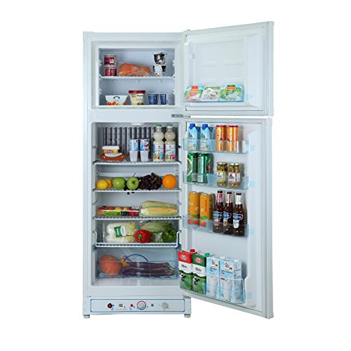 Smad 2 way 110V Propane Fridge Freezer Absorption Refrigerator,7.5 cu ft, White