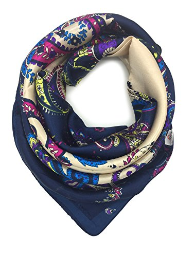 YOUR SMILE Silk Like Scarf Women's Fashion Pattern Large Square Satin Headscarf head dress (202)