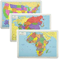 Painless Learning Educational Placemats Sets USA Africa and Asia Maps Non Slip Washable