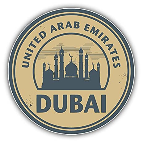 Dubai united arab emirates stamp art decor bumper sticker 5