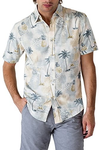 (Paradise Hawaiian Shirt with Tropical Prints - Summer Essentials (Khaki, Large))