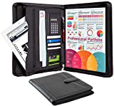 Business Portfolio Padfolio Professional Genuine Pebble Leather Zippered Organizer with Tablet Holder, A4 Letter Size Writing Pad, Calculator, Card Holder, Document Folder and Outside Pocket, Black