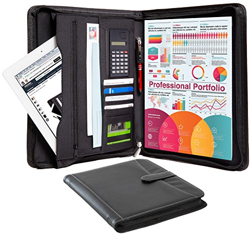 (Business Portfolio Padfolio Professional Genuine Pebble Leather Zippered Organizer with Tablet Holder, A4 Letter Size Writing Pad, Calculator, Card Holder, Document Folder and Outside Pocket, Black)