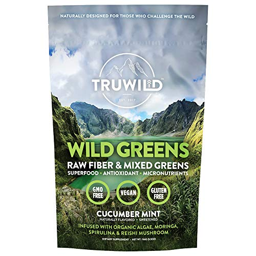WILD GREENS Green Superfood Adaptogen Powder - 22+ Amazing Organic Foods - Reishi, Ashwagandha, Maca, Moringa, Wheatgrass, Spirulina, Chlorella, Bitter Melon - Naturally Flavored Energy, Detox & Diges (Green Superfood Moringa)