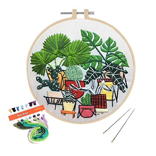 (Artilife Full Range of Embroidery Kit Patterned Cross Stitch Kit for Beginners Adults Stamped Embroidery Cloth Hoops Floss Needles Hand Craft Projects, Green Plants)