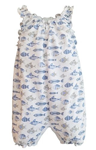 Feather Baby Girls Clothes Pima Cotton Sleeveless One-Piece Sunsuit Shortie Baby Romper, 9-12 Months, Fish-Blue on White