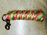 Lime/Purple/Yellow Poly Lead Rope 10' w/ Brass Bolt Snap Valhoma
