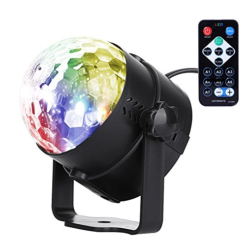 U`King RBG Led Disco Ball Lights Sound Activated Portable Stage DJ Light with Remote Control 7 Color Strobe Lamp Party Light for Car Room Dance Parties Birthday DJ Bar Club Pub by U`King