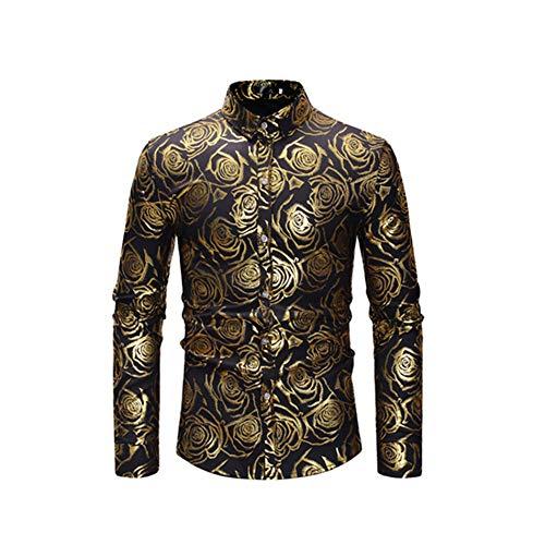 Bronzing Dark Formula (Lu Studio Nightclub Shirt Men Shiny Bronzing Rose Flower Shirt Party Wedding Dinner Prom Mens Shirts Slim,Black,XL)