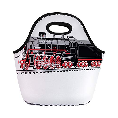 Semtomn Lunch Bags Whistle White Train Seven Axle Locomotive in Four Colors Neoprene Lunch Bag Lunchbox Tote Bag Portable Picnic Bag Cooler Bag